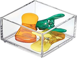 InterDesign iDesign Clarity Plastic Drawer Organizer, Storage Container for Kitchen Gadgets, Corks, Sticky-Notes, Clips in Pantry, Cabinets, Countertops, 4 x 4 x 2 - Clear