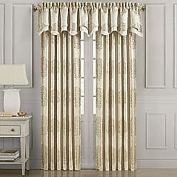 Five Queens Court Carlisle Woven Jacquard Lined Luxury Rod Pocket Window Panel, 95 Inch, Gold
