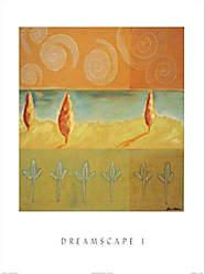 Buyartforless Buyartforless Dreamscape I by Liz Rider 19.75x23.5 Art Print Poster Abstract Painting Colorful Shapes Green Orange Spirals Trees