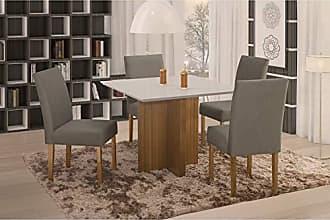 Siena Móveis Conjunto Sala de Jantar em Madeira Maciça Mesa Pérola 4 Cadeiras Lara Siena Móveis Imbuia Natural/Suede 70