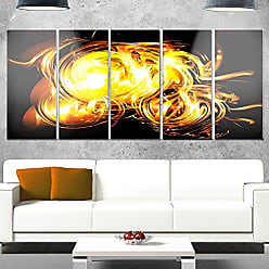 DESIGN ART Designart MT14155-401 Abstract Fractal Fire on Black - Large Abstract Glossy Metal Wall Art,Black,60x28