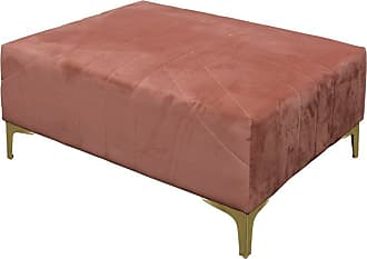 StyleCraft Roxie Rose Gold Base Pink Velvet Ottoman - AF10277DS