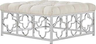 Weston Home Libby Button Tufted Chrome Quatrefoil Base Square Coffee Table Ottoman - Beige Linen - 68E662CO-4M4[OT]BLC2