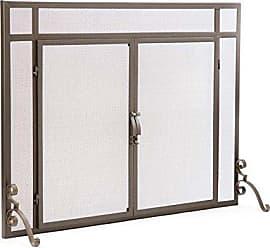 Plow & Hearth 36161-BRZ 2-Door Solid Steel Flat Guard Fire Screen, Si, 39W x 31H, Bronze