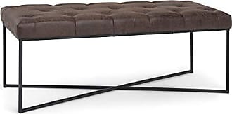 Simpli Home Simpli Home AXCOT-294-DBR Maddox 48 inch Wide Modern Contemporary Ottoman Bench in Distressed Brown Faux Air Leather, Fully Assembled