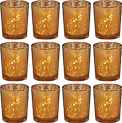 Biedermann & Sons Inc. 12 Count Rustic Glass Votive Candle Holders, Amber