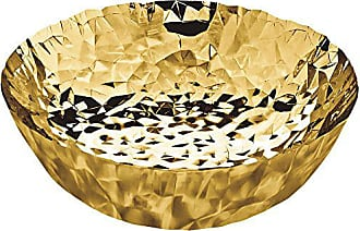 Alessi Joy n11 Round Basket in 18/10 Stainless Steel And Hand Gold Plating in 24 Carat Gold, Gold