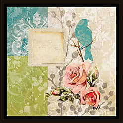 EAZL Vintage Bird & Roses Patterned Panel Painting Blue & Green, Framed Canvas Art by Pied Piper Creative