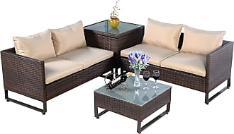 Costway 4 pcs Brown Rattan Wicker Patio Sofa Set with a Pragmatic Table