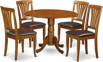East West Furniture DLAV5-SBR-LC 3 Pc Room Set Table and 2 Dining Chairs, Brown