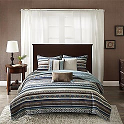 Madison Park Malone Full/Queen Size Quilt Bedding Set - Blue, Brown, Southwestern Pattern, Fair Isle - 6 Piece Bedding Quilt Coverlets - Micro Herringbone Fabric Bed Quilts Quilted Coverlet