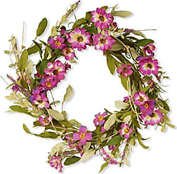 National Tree Company National Tree 20 Inch Floral Wreath with Purple Daisy and Lavender Flowers (GAF30-20WDLP)