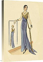Bentley Global Arts Global Gallery Budget GCS-379261-22-142 Vintage Fashion Evening Gown in Blue and Gold Gallery Wrap Giclee on Canvas Wall Art Print