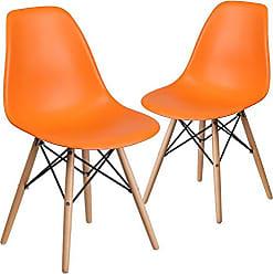 Flash Furniture 2 Pk. Elon Series Orange Plastic Chair with Wood Base
