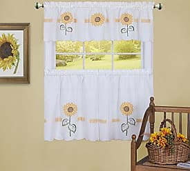 Ben&Jonah Ben & Jonah Sun Blossoms Embellished Tier and Valance Window Curtain Set-56x24-Multi Collection, Multi