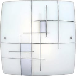 Eglo Raya 1 Ceiling Light in Silver & Chrome with Clear and White Paint Glass