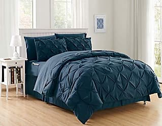Elegant Comfort Luxury Best, Softest, Coziest 8-PIECE Bed-in-a-Bag Comforter Set on Amazon! Elegant Comfort - Silky Soft Complete Set Includes Bed Sheet Set with Double Sided Storage Pockets, King/Cal King, Navy Blue