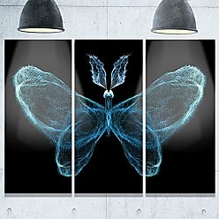 DESIGN ART Designart MT8665-3P Turquoise Fractal Butterfly in Dark Large Abstract Metal Wall Art (3 Panels), 28 H x 36 W x 1 D 3P, Blue/Black