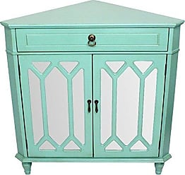 Heather Ann Creations The Dorset Collection Contemporary Style Wooden Double Door Floor Storage Living Room Corner Cabinet with Hexagonal Mirror Inserts and 1-Drawer, Turquoise