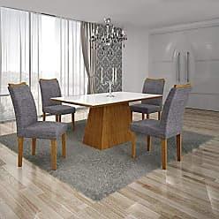 Leifer Conjunto Sala de Jantar Mesa Tampo MDF/Vidro Branco 4 Cadeiras Pampulha Leifer Imbuia Mel/Linho Cinza