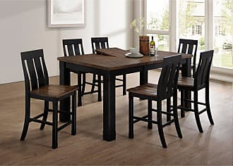 United Furniture Tyler Counter Height Dining Chair - Black and Rustic Oak - Set of 2 - 5016-52