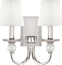 Metropolitan N2661-613 Two Light Wall Sconce in Polished Nickel finish with Mouth Blown Ribbed Optic Glass Accents/White Gossamer Pleated Shades