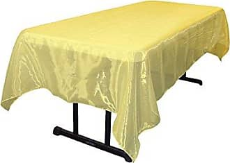 LA Linen Sheer Mirror Organza Rectangular Tablecloth 60 by 144 inch, Light Yellow