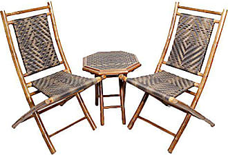 Heather Ann Creations 3-Piece Bamboo Bistro Set with Diamond Weave, Brown and Dark/Light Brown