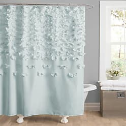 Lush Décor Lucia Shower Curtain - Fabric, Ruched, Floral, Textured Shabby Chic, Farmhouse Style Design, 72 x 72, Blue