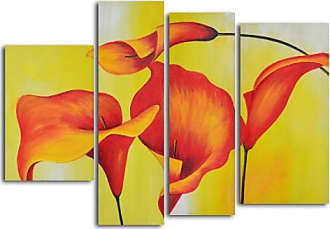 Omax Decor Consultation of Amber Lilies 4-Piece Oil Painted Wall Art Set