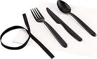 Restaurantware Black Plastic Cutlery Set Wrapped with White Napkin & Black Ribbon - Wrapped Cutlery Set, Plastic Cutlery Set - 7.3 - 100ct Box - Restaurantware