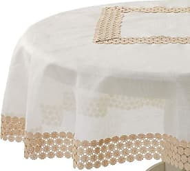 Violet Linen Dainty Emroidered Organza, Macrame Lace Border Tablecloth 70 Round Ivory