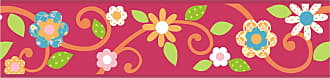 RoomMates Scroll Floral Peel and Stick Border Magenta/Orange - RMK1459BCS
