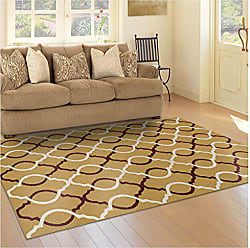 Superior Cadena Collection Area Rug, 8mm Pile Height with Jute Backing, Chic Geometric Trellis Pattern, Fashionable and Affordable Woven Rugs, 8 x 10 Rug, Gold