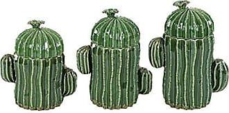 Urban Designs 7756765 Style Cactus Ceramic Jar (Set of 3)