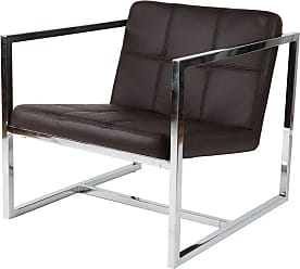 Whiteline Lisa Arm Chair with Chrome Frame White Leatherette - CH1065P-WHT
