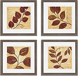 WEXFORD HOME Marsala Moment Spring Collection Flower Print 4 Panels Set Framed Décor for Home Office Wall Art, 15X15, Burly Wood