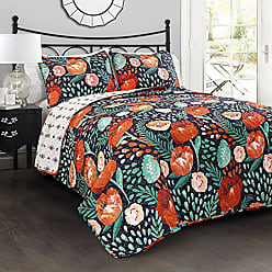 Triangle Home Fashions Lush Decor 3 Piece Poppy Garden Quilt Set, King, Navy