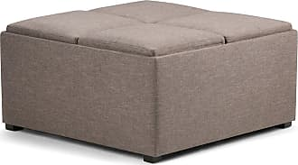 Simpli Home Avalon Linen Look Square Coffee Table Storage Ottoman in Fawn Brown