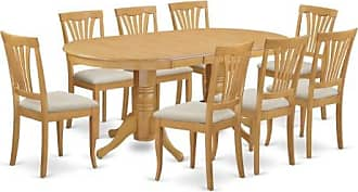 East West Furniture Vancouver 9 Piece Lath Back Dining Table Set
