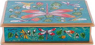 Novica Reverse-painted glass box, Dragonflies in Turquoise Skies