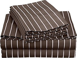 Superior Cotton Blend 600 Thread Count, Deep pocket, Wrinkle Resistant 6-Piece California King Bed Sheet Set with BONUS Pillowcases, Bahama Striped, Grey with White Stripes