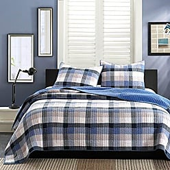 Ink + Ivy Ink+Ivy Maddox Twin Size Teen Boys Quilt Bedding Set - Navy, Black, Plaid - 2 Piece Boys Bedding Quilt Coverlets - 100% Cotton Yarn And Cotton Percale Bed Quilts Quilted Coverlet
