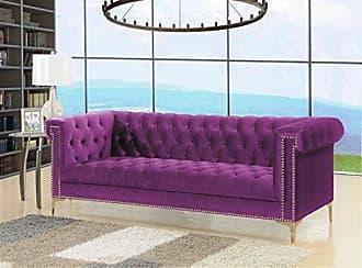 Iconic Home FSA2613-AN Gold/Purple Bea Velvet with Nail head Trim Tone Metal Sofa