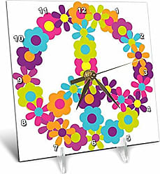 3D Rose 3dRose Peace Sign Made Up of Blue, Pink, Purple, and Green Flowers - Desk Clock, 6 by 6-Inch (dc_124615_1)