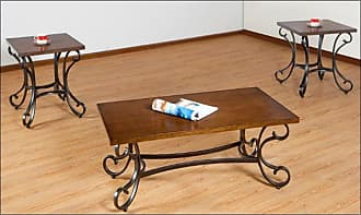 United Furniture 3 Piece Mixed Media Coffee Table Set with Scroll Base - 7311-43