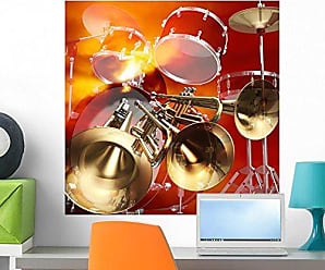 Wallmonkeys Abstract Jazz Rock Background Musical Instruments Wall Decal Peel and Stick Graphic WM114529 (24 in H x 24 in W)