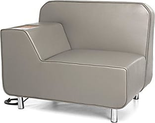 OFM 5000RE-TAU-BZ Serenity Series Right Arm Lounge Chair with Electrical Outlet, Bronze Tablet, Taupe