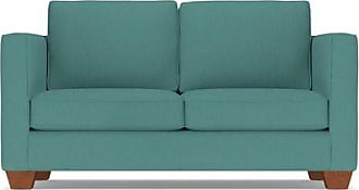 Apt2B Catalina Twin Size Sleeper Sofa - Leg Finish: Pecan - Sleeper Option: Memory Foam Mattress - Teal Poly Blend - Sold by Apt2B - Modern Couch Made