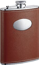 Visol Products VisolBobcat Leather Stainless Steel Flask, 8-Ounce, Brown